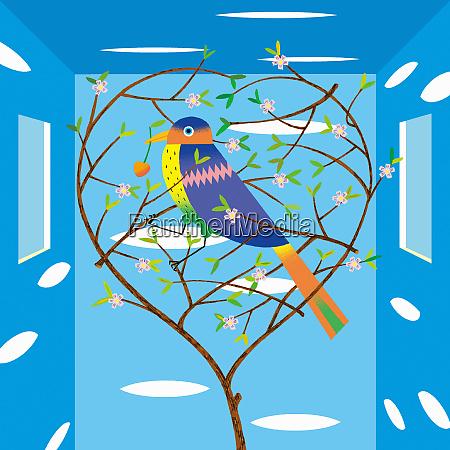 multicolored bird in heart shaped tree
