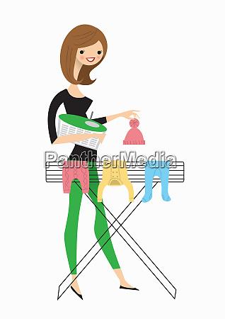 frau, hängte, babykleidung, an, airer - 26010008