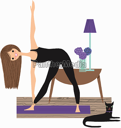 portrait of smiling woman stretching doing