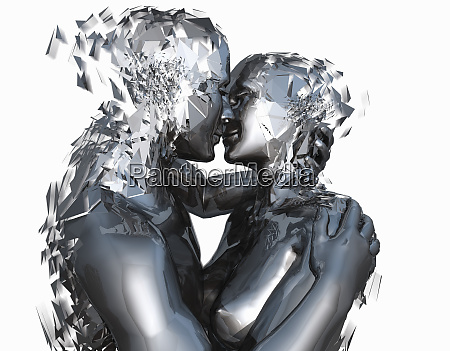 android couple kissing and shattering