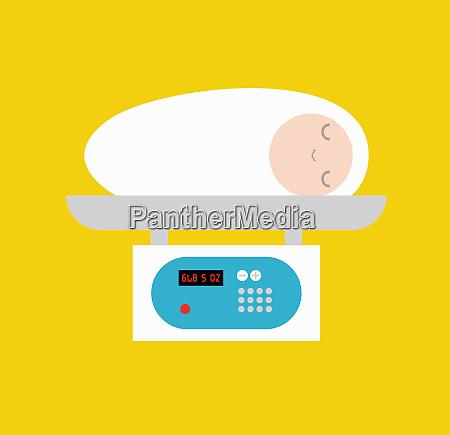 neugeborenes baby auf gewichtsskala