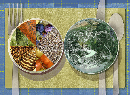 place setting with healthy food pie