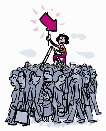 woman on ladder holding pink arrow