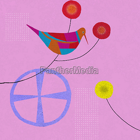 colorful abstract of bird and simple