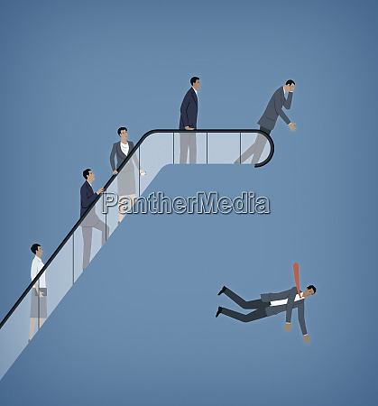 businessmen and businesswomen rising up escalator