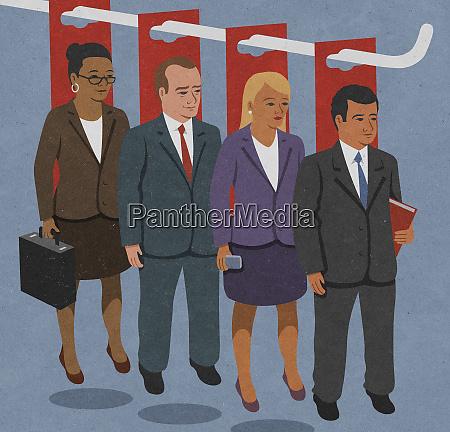 row of confident businessmen and businesswomen