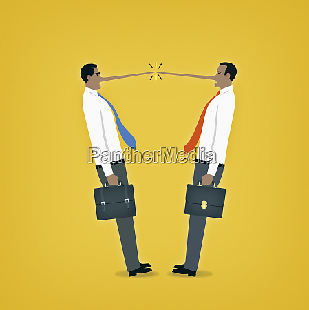 two dishonest businessmen meeting with long