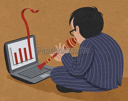 businessman snake charmer improving bar chart