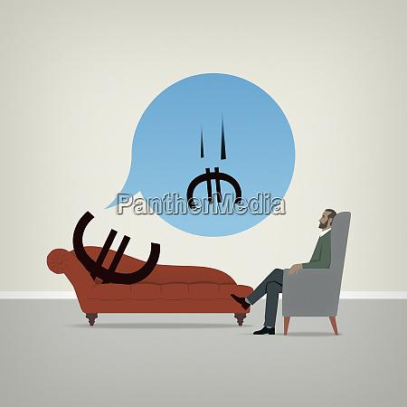 euro schild auf psychiatrische couch besorgt
