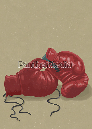 pair of red boxing gloves