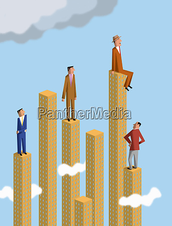 businessmen looking up to man on