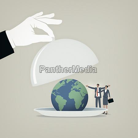 hand lifting domed lid revealing globe