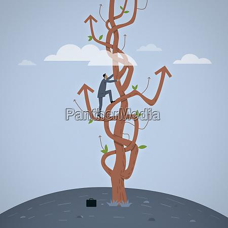 businessman climbing tree of tangled arrows
