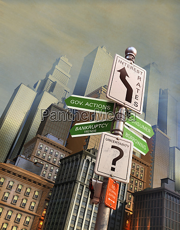 economic uncertainty signpost in city financial