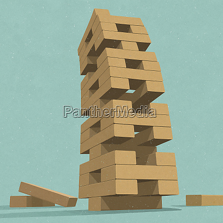 unstable building block removal game tower
