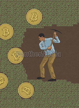 man mining for bitcoins in computer