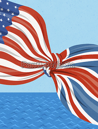amerikanische und britische flaggen im knoten