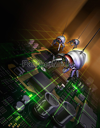 robotic bugs above computer circuit board