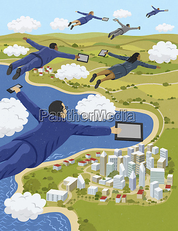 business people flying through clouds holding