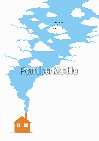 blue sky smoke from house chimney