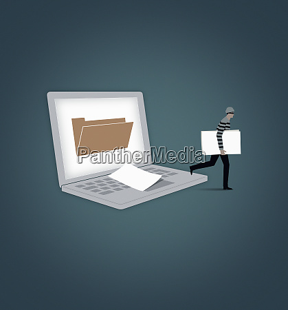 burglar stealing file from laptop computer