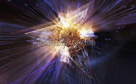 light exploding from abstract prism pattern