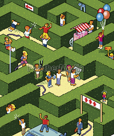 lots of people lost in maze