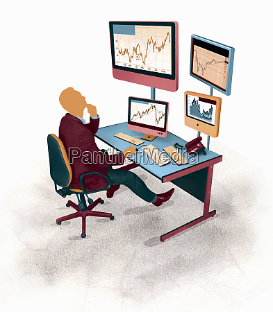 businessman looking up at line graph