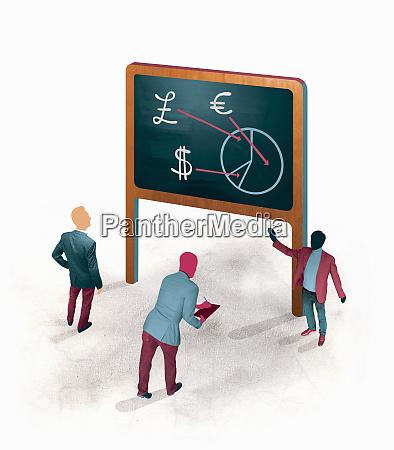 businessman explaining international currency pie chart