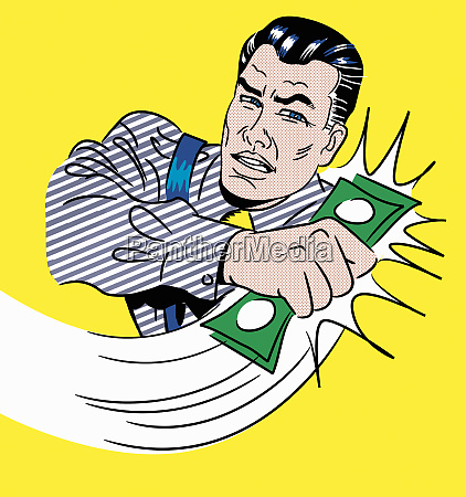 karikatur des geschaeftsmannes der geld ergreift