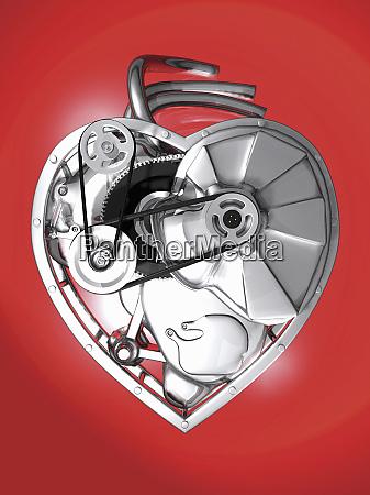 cogs inside metal heart
