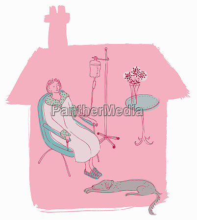 woman patient attached to iv drip
