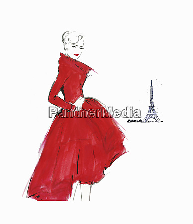 confident elegant retro woman wearing red