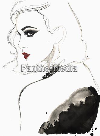 beautiful woman wearing red lipstick and