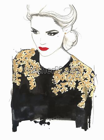 glamorous woman wearing ornate black and