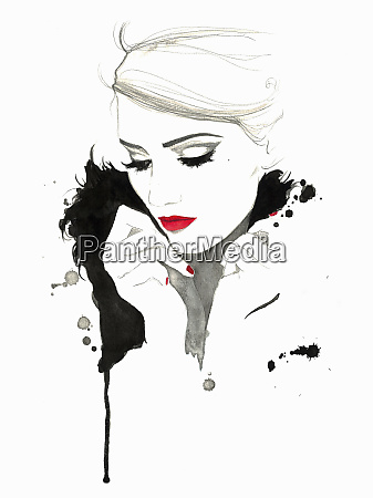 elegant woman wearing red lipstick and