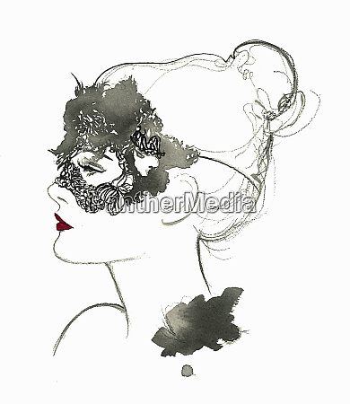 beautiful woman wearing masquerade mask