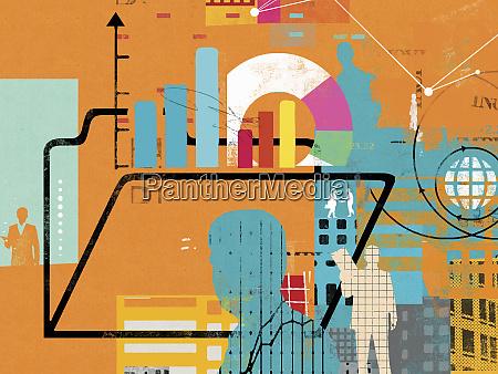 businessmen globe financial data and folder