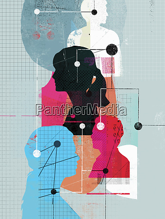 network of connected silhouetted profiles of