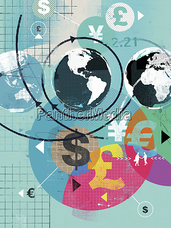 global finance and international currency symbols