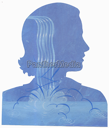 woman with splashing water inside of