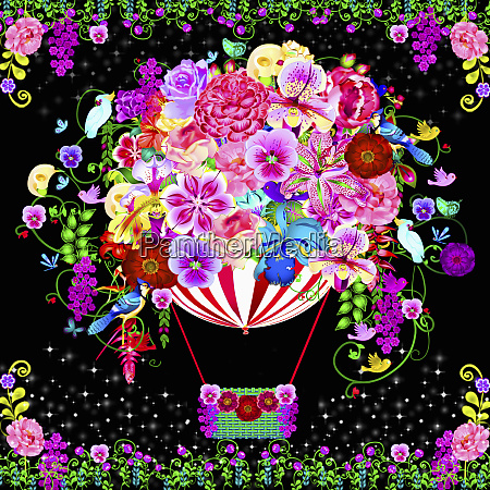 bright colorful flowers covering hot air