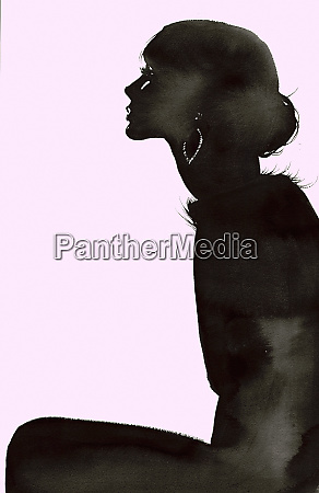 silhouette of elegant woman wearing fluffy