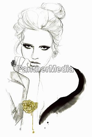 fashion illustration of elegant woman looking