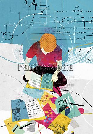 collage of teenage boy studying range