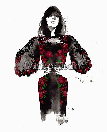 fashion illustration of model wearing rose