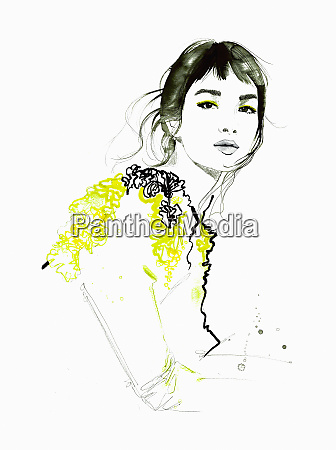 fashion illustration of beautiful woman looking