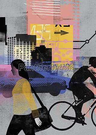 urban transport and people on the