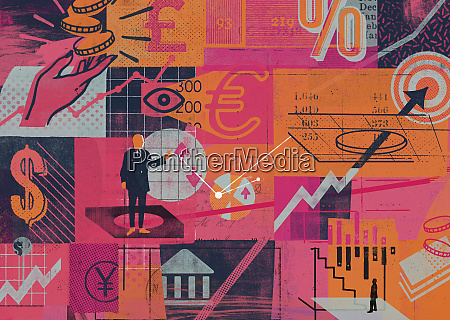 montage of global finance and economic