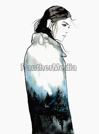 sad young woman wearing coat with